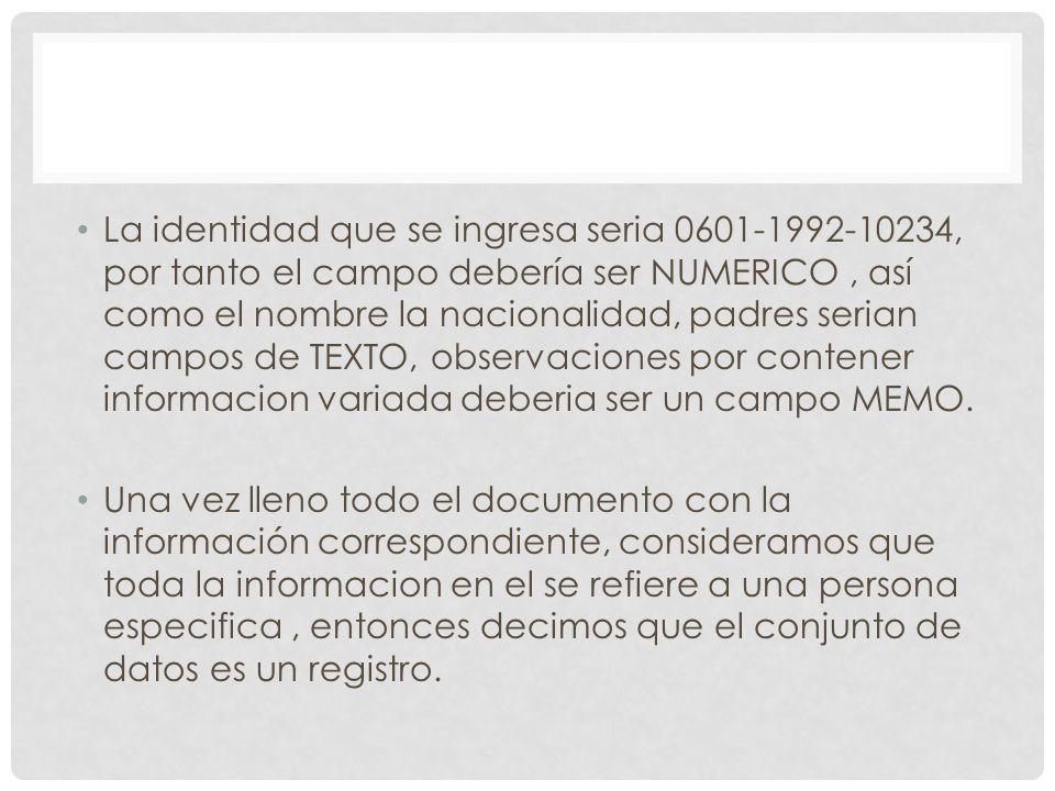 La identidad que se ingresa seria 0601-1992-10234, por tanto el campo debería ser NUMERICO, así como el nombre la nacionalidad, padres serian campos d