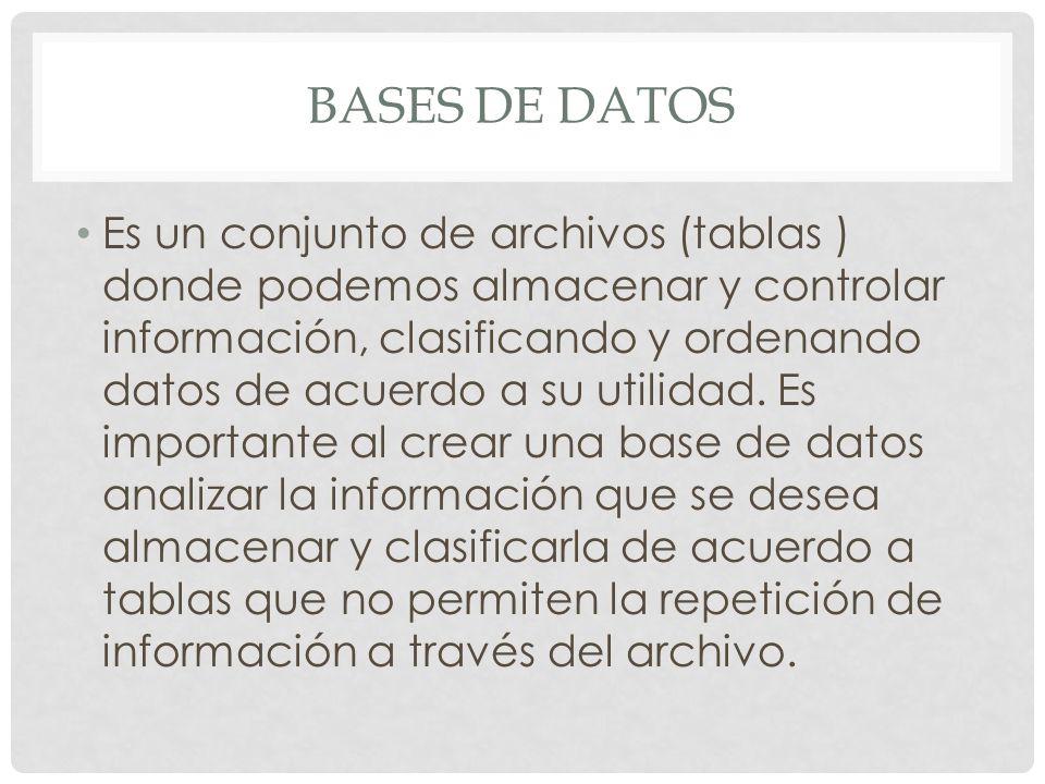 BASES DE DATOS Es un conjunto de archivos (tablas ) donde podemos almacenar y controlar información, clasificando y ordenando datos de acuerdo a su ut
