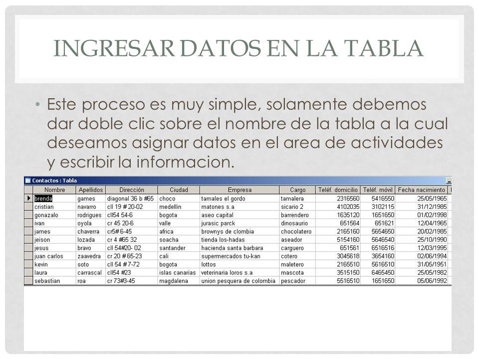 INGRESAR DATOS EN LA TABLA Este proceso es muy simple, solamente debemos dar doble clic sobre el nombre de la tabla a la cual deseamos asignar datos e