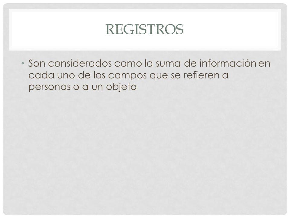 REGISTROS Son considerados como la suma de información en cada uno de los campos que se refieren a personas o a un objeto