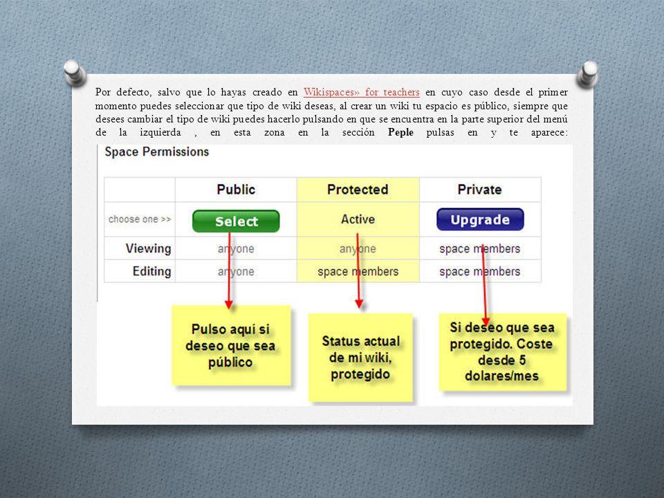 Por defecto, salvo que lo hayas creado en Wikispaces» for teachers en cuyo caso desde el primer momento puedes seleccionar que tipo de wiki deseas, al crear un wiki tu espacio es público, siempre que desees cambiar el tipo de wiki puedes hacerlo pulsando en que se encuentra en la parte superior del menú de la izquierda, en esta zona en la sección Peple pulsas en y te aparece:Wikispaces» for teachers