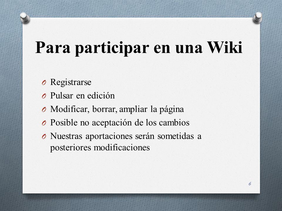 Para participar en una Wiki O Registrarse O Pulsar en edición O Modificar, borrar, ampliar la página O Posible no aceptación de los cambios O Nuestras aportaciones serán sometidas a posteriores modificaciones 6