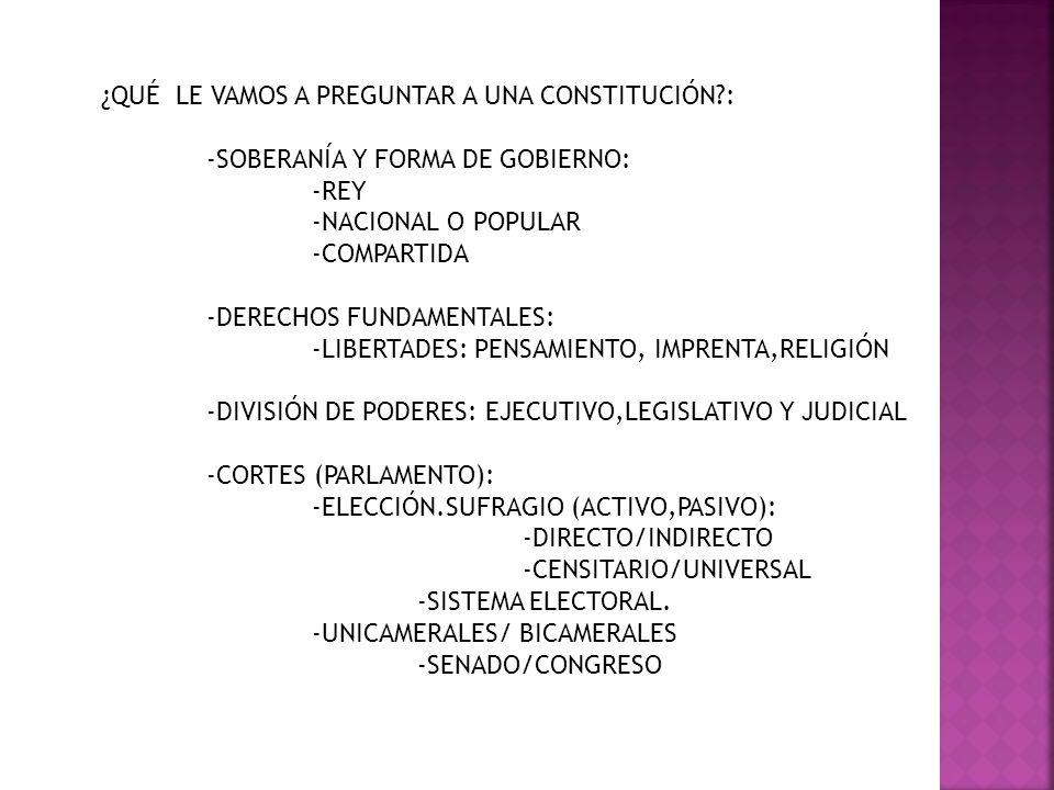 ¿QUÉ LE VAMOS A PREGUNTAR A UNA CONSTITUCIÓN?: -SOBERANÍA Y FORMA DE GOBIERNO: -REY -NACIONAL O POPULAR -COMPARTIDA -DERECHOS FUNDAMENTALES: -LIBERTAD