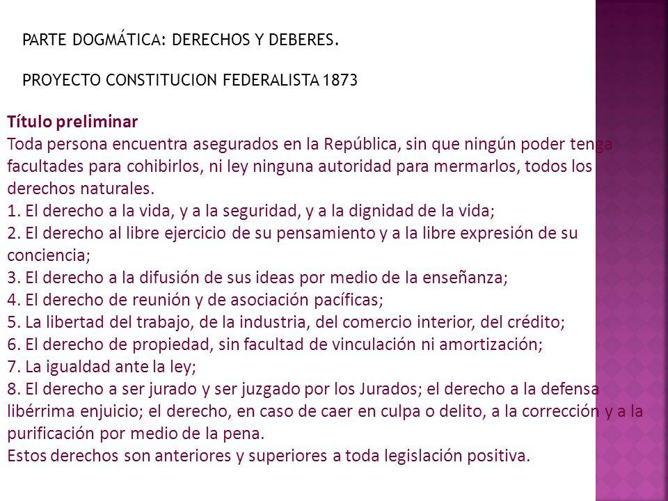 Título preliminar Toda persona encuentra asegurados en la República, sin que ningún poder tenga facultades para cohibirlos, ni ley ninguna autoridad p