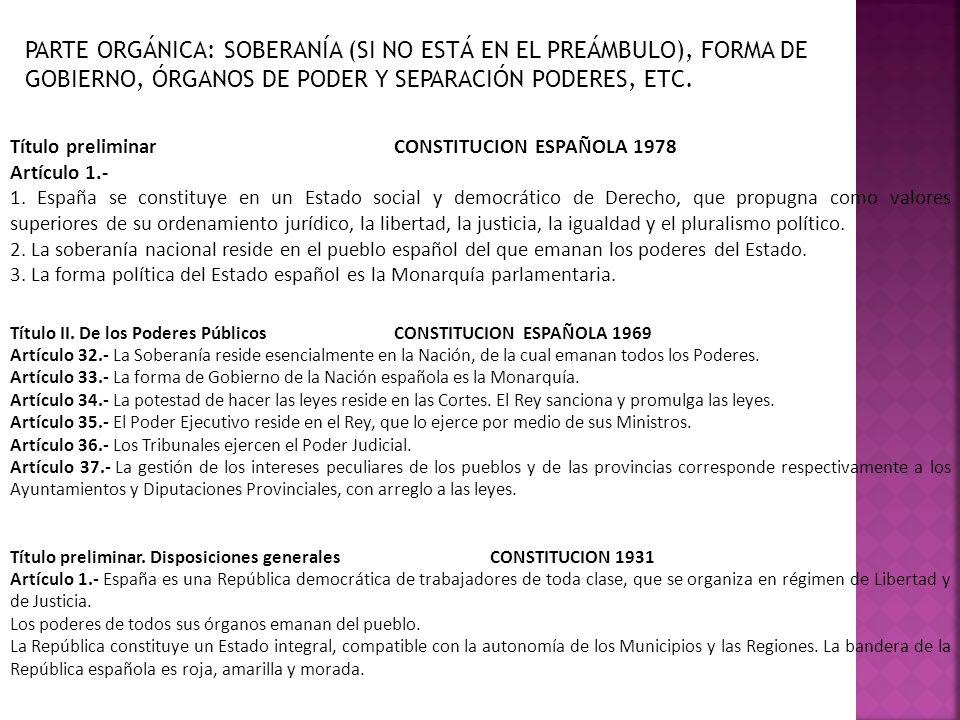 PARTE ORGÁNICA: SOBERANÍA (SI NO ESTÁ EN EL PREÁMBULO), FORMA DE GOBIERNO, ÓRGANOS DE PODER Y SEPARACIÓN PODERES, ETC. Título preliminarCONSTITUCION E