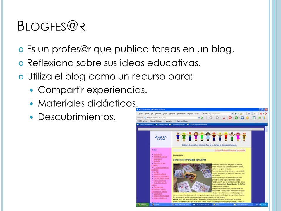 B LOGFES @ R Es un profes@r que publica tareas en un blog.