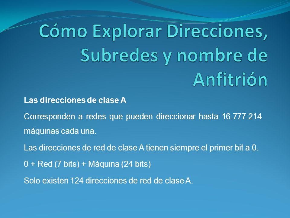Las direcciones de clase A Corresponden a redes que pueden direccionar hasta 16.777.214 máquinas cada una.