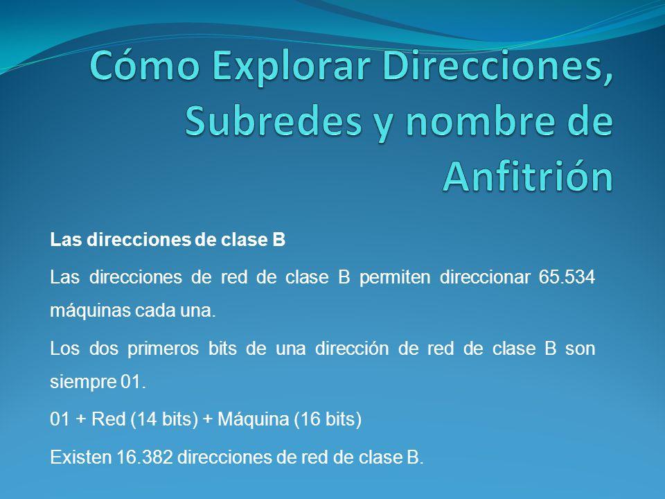 Las direcciones de clase B Las direcciones de red de clase B permiten direccionar 65.534 máquinas cada una.