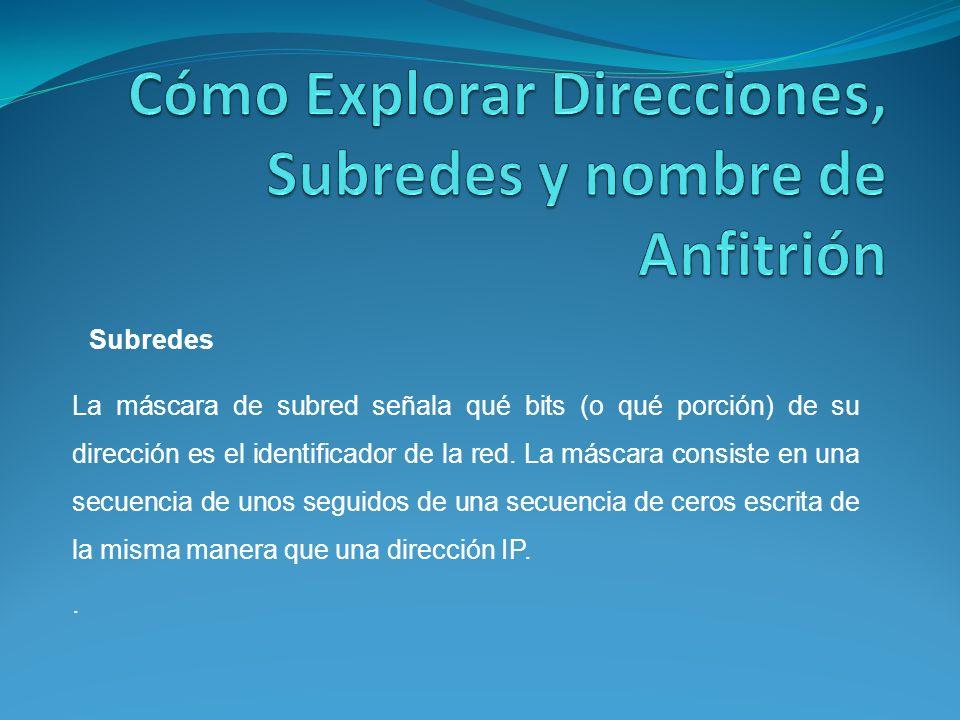 La máscara de subred señala qué bits (o qué porción) de su dirección es el identificador de la red.
