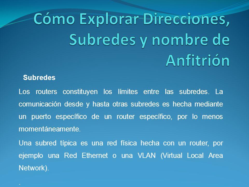 Los routers constituyen los límites entre las subredes.