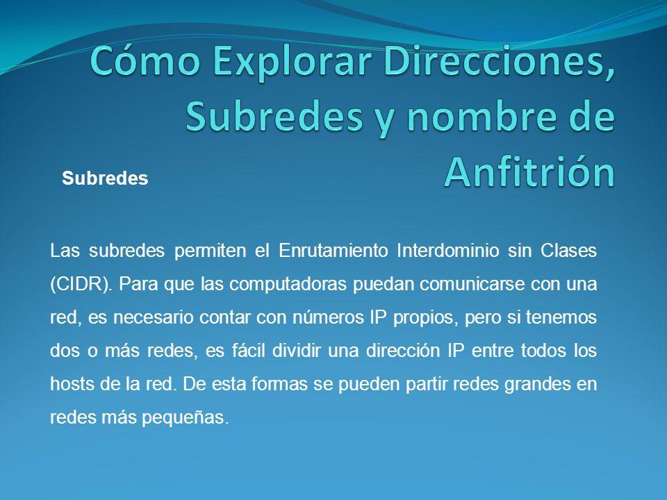 Las subredes permiten el Enrutamiento Interdominio sin Clases (CIDR).
