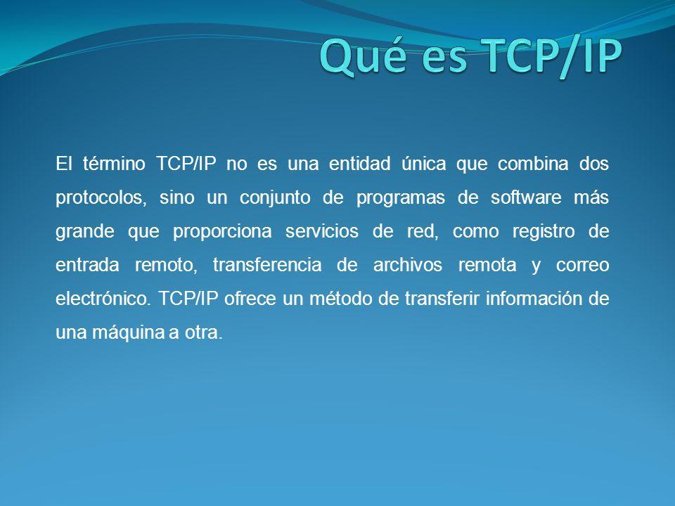 El término TCP/IP no es una entidad única que combina dos protocolos, sino un conjunto de programas de software más grande que proporciona servicios de red, como registro de entrada remoto, transferencia de archivos remota y correo electrónico.
