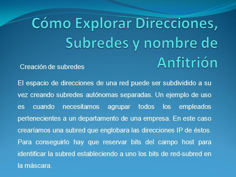 El espacio de direcciones de una red puede ser subdividido a su vez creando subredes autónomas separadas.