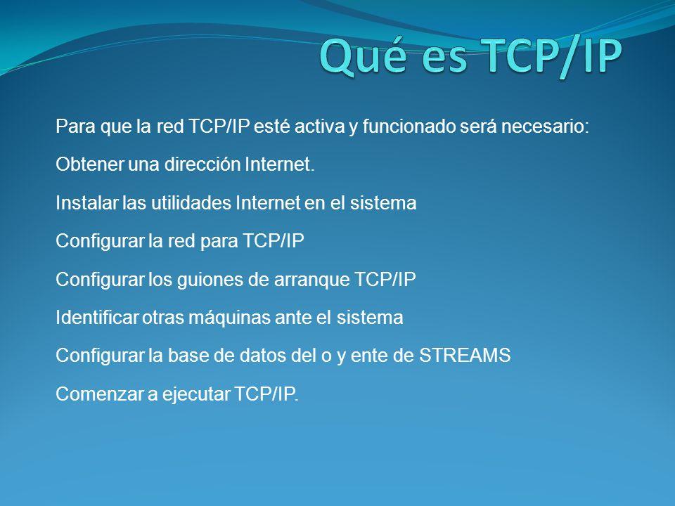 Para que la red TCP/IP esté activa y funcionado será necesario: Obtener una dirección Internet.