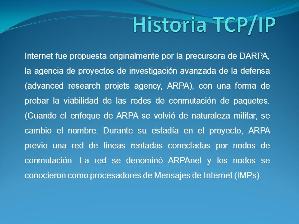 Internet fue propuesta originalmente por la precursora de DARPA, la agencia de proyectos de investigación avanzada de la defensa (advanced research projets agency, ARPA), con una forma de probar la viabilidad de las redes de conmutación de paquetes.