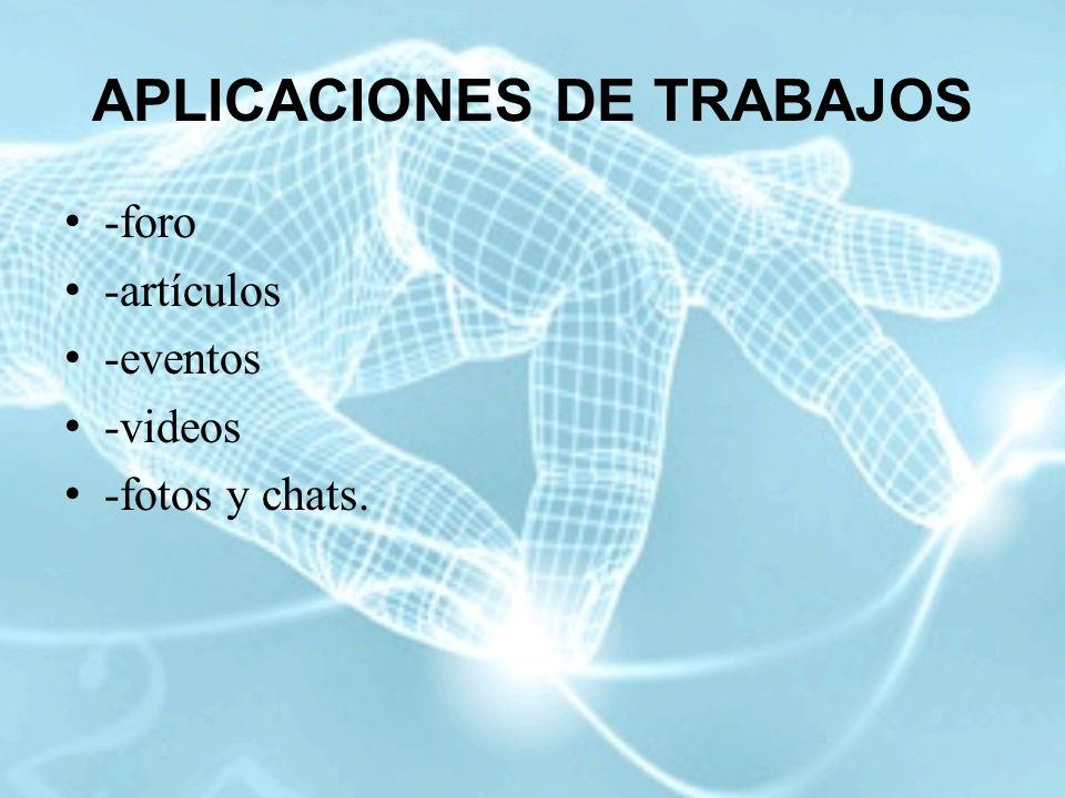 APLICACIONES DE TRABAJOS -foro -artículos -eventos -videos -fotos y chats.