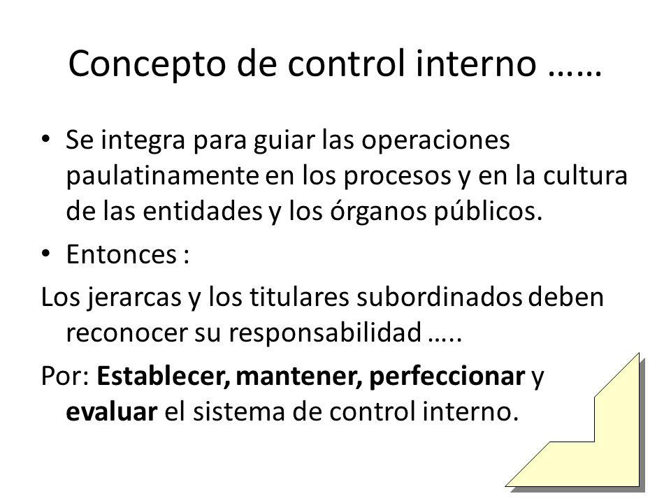 Concepto de control interno …… Se integra para guiar las operaciones paulatinamente en los procesos y en la cultura de las entidades y los órganos públicos.