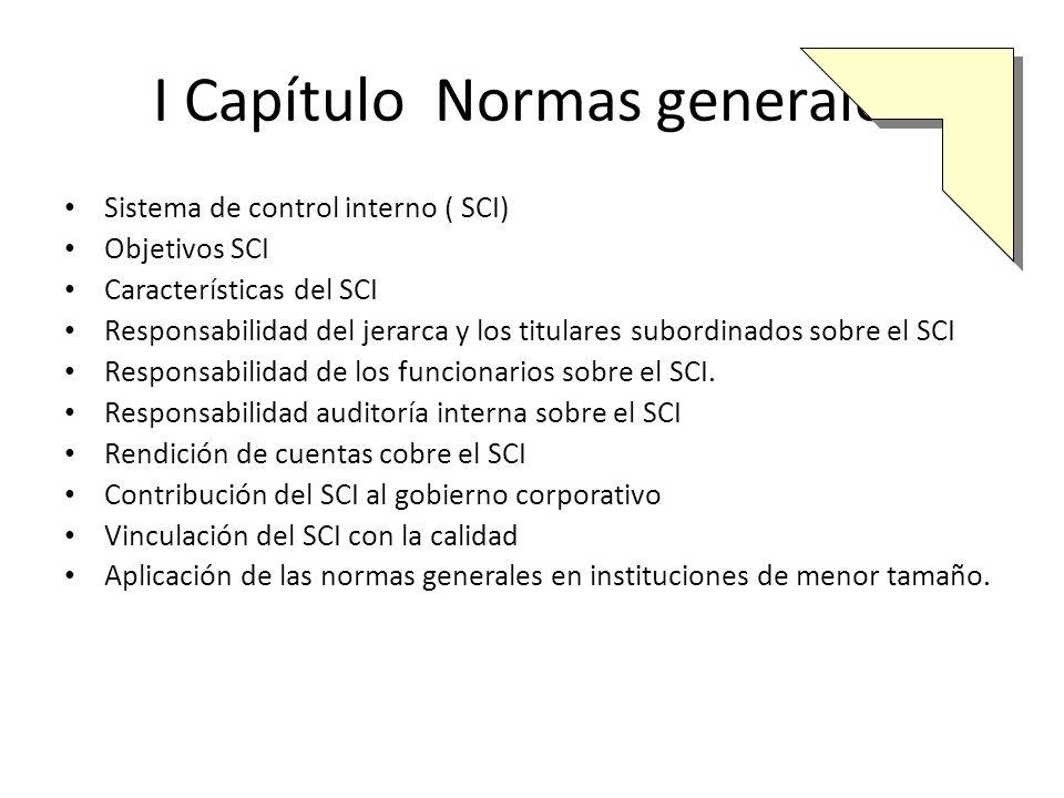 II Capítulo Normas sobre ambiente de control Ambiente de control Compromiso superior Fortalecimiento de la ética institucional Idoneidad del personal Estructura organizativa
