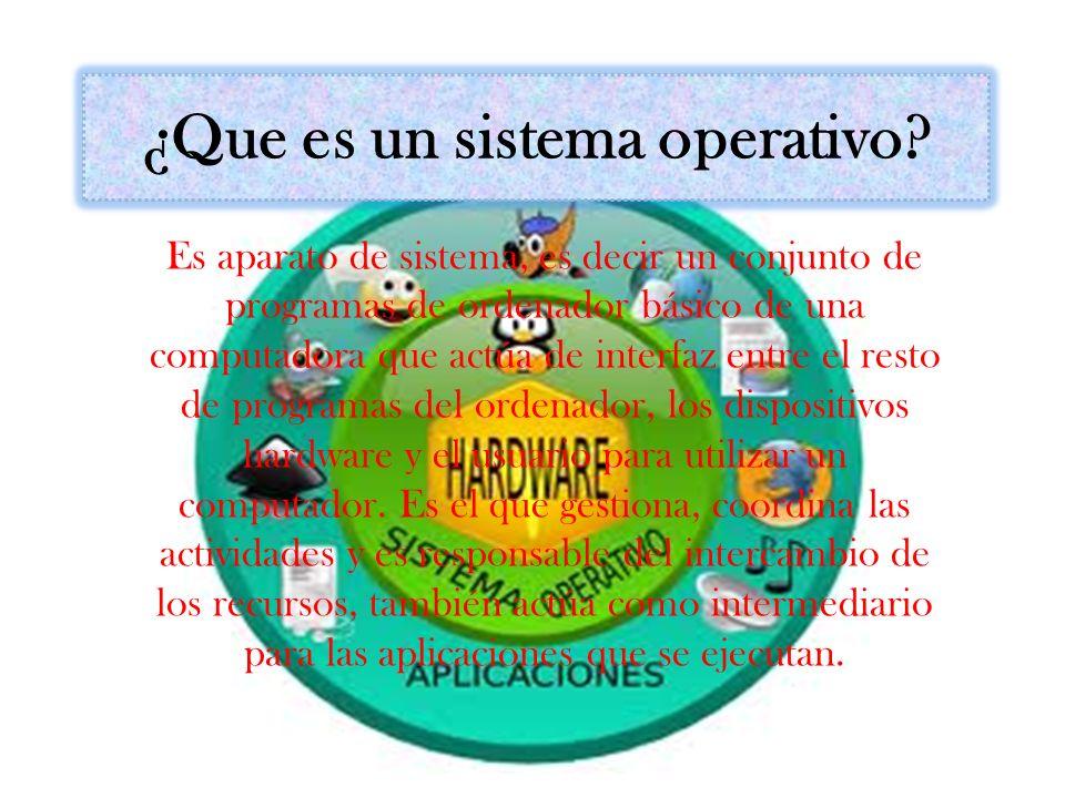 ¿Que es un sistema operativo? Es aparato de sistema, es decir un conjunto de programas de ordenador básico de una computadora que actúa de interfaz en
