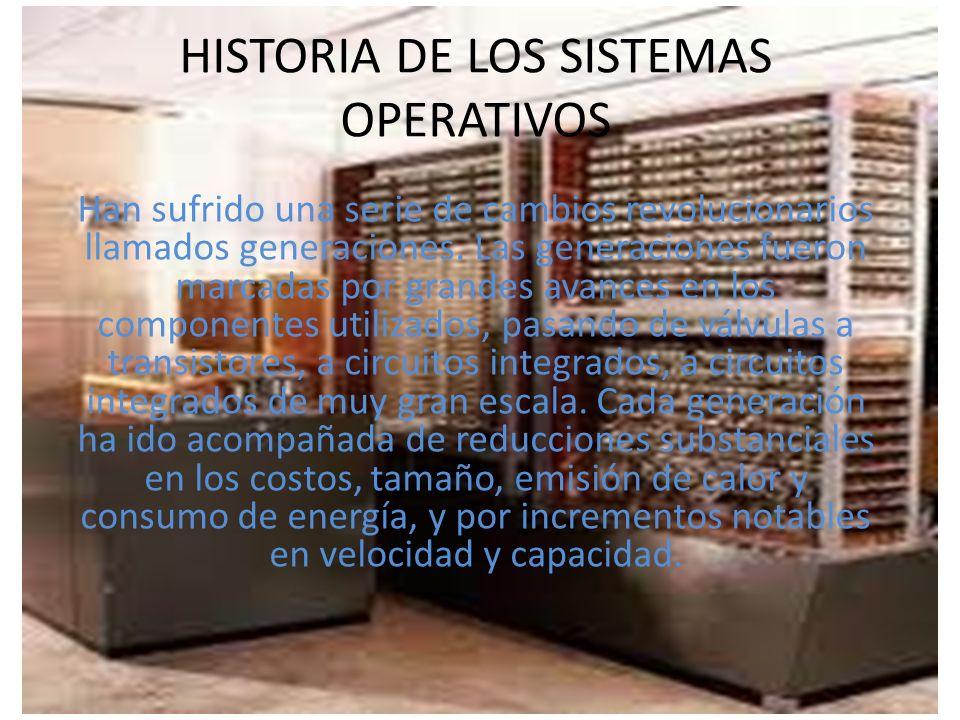 HISTORIA DE LOS SISTEMAS OPERATIVOS Han sufrido una serie de cambios revolucionarios llamados generaciones. Las generaciones fueron marcadas por grand