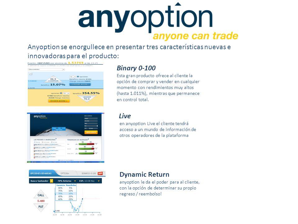 Anyoption se enorgullece en presentar tres características nuevas e innovadoras para el producto: Binary 0-100 Esta gran producto ofrece al cliente la