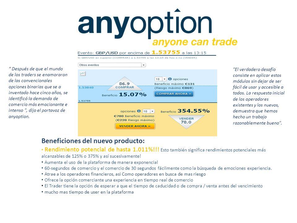 Beneficiones del nuevo producto: Rendimiento potencial de hasta 1.011%!!! Esto también significa rendimientos potenciales más alcanzables de 125% o 37