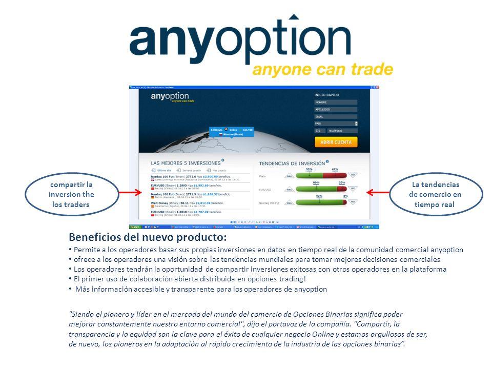 Beneficios del nuevo producto: Permite a los operadores basar sus propias inversiones en datos en tiempo real de la comunidad comercial anyoption ofre