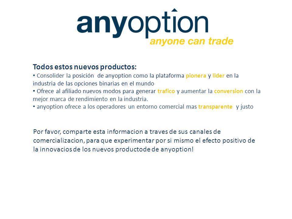 Todos estos nuevos productos: Consolider la posición de anyoption como la plataforma pionera y lider en la industria de las opciones binarias en el mu