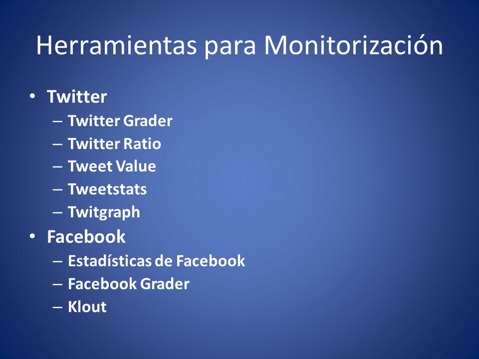 Herramientas para Monitorización Twitter – Twitter Grader – Twitter Ratio – Tweet Value – Tweetstats – Twitgraph Facebook – Estadísticas de Facebook – Facebook Grader – Klout