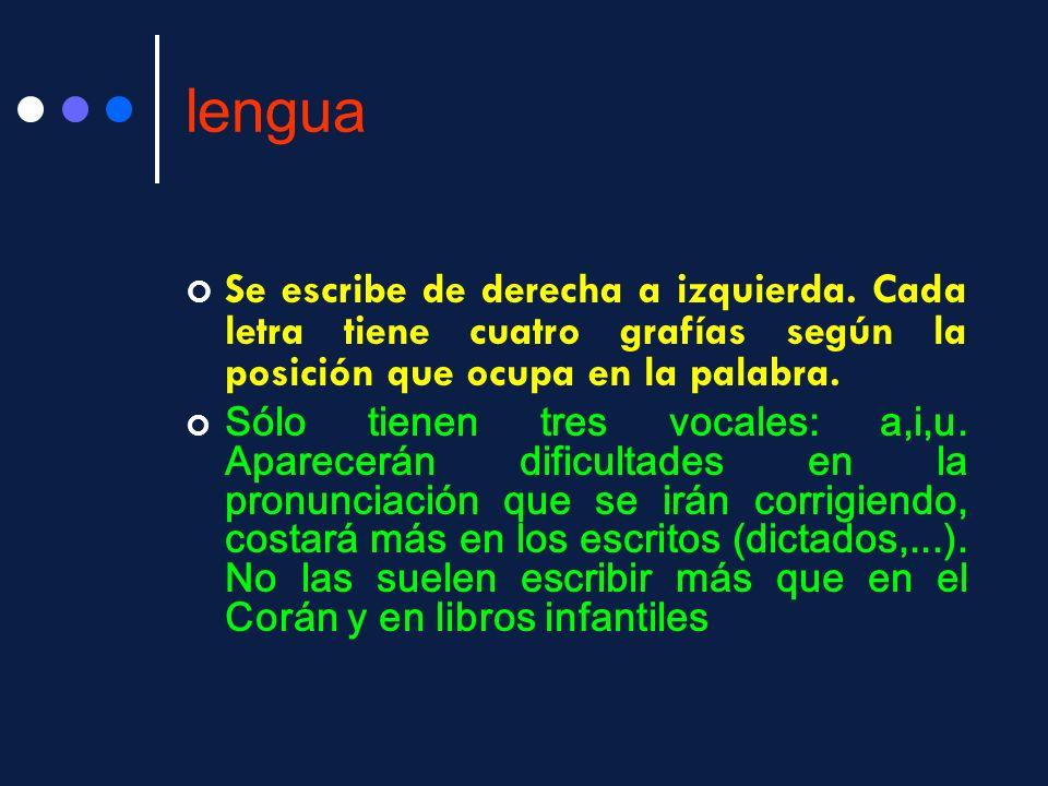lengua Se escribe de derecha a izquierda. Cada letra tiene cuatro grafías según la posición que ocupa en la palabra. Sólo tienen tres vocales: a,i,u.