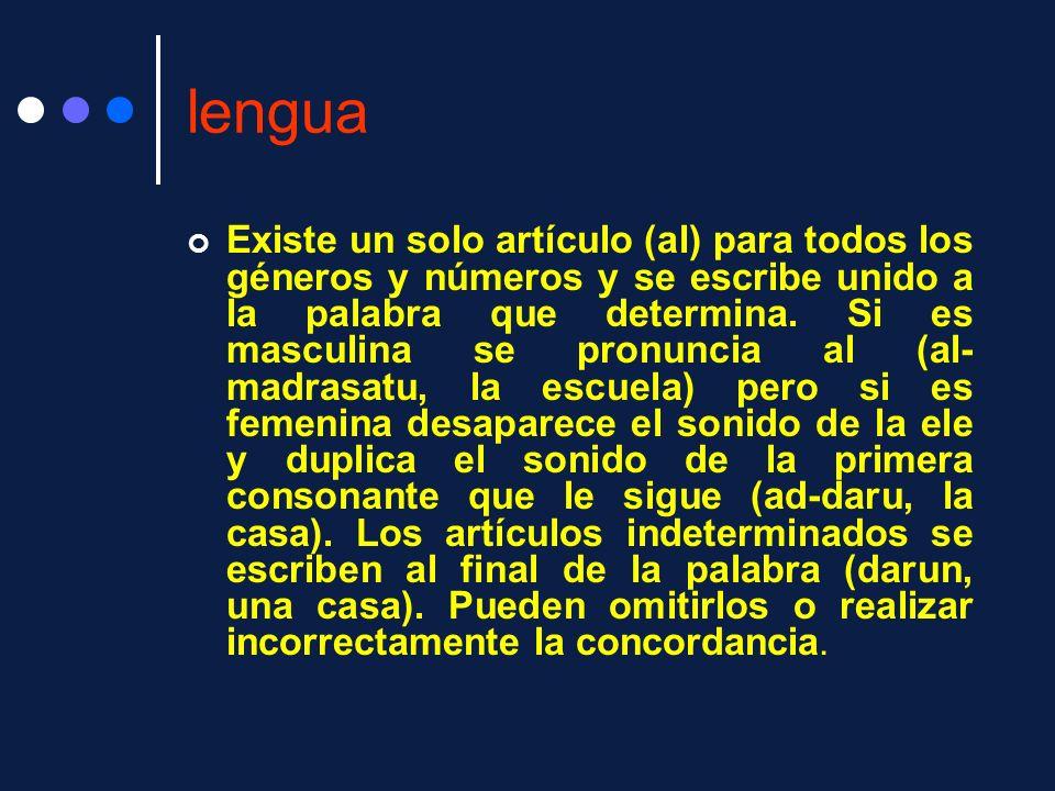 lengua Existe un solo artículo (al) para todos los géneros y números y se escribe unido a la palabra que determina. Si es masculina se pronuncia al (a