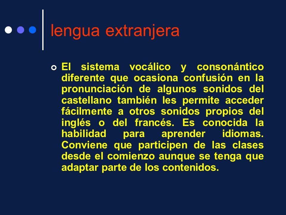 lengua extranjera El sistema vocálico y consonántico diferente que ocasiona confusión en la pronunciación de algunos sonidos del castellano también le