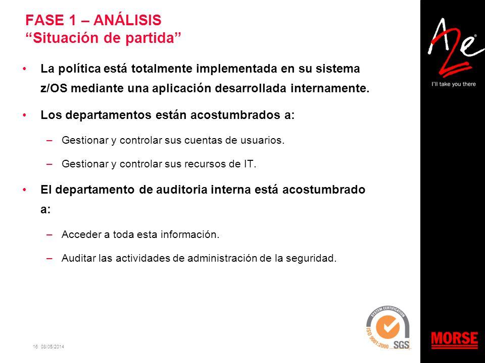 16 08/05/2014 FASE 1 – ANÁLISIS Situación de partida La política está totalmente implementada en su sistema z/OS mediante una aplicación desarrollada