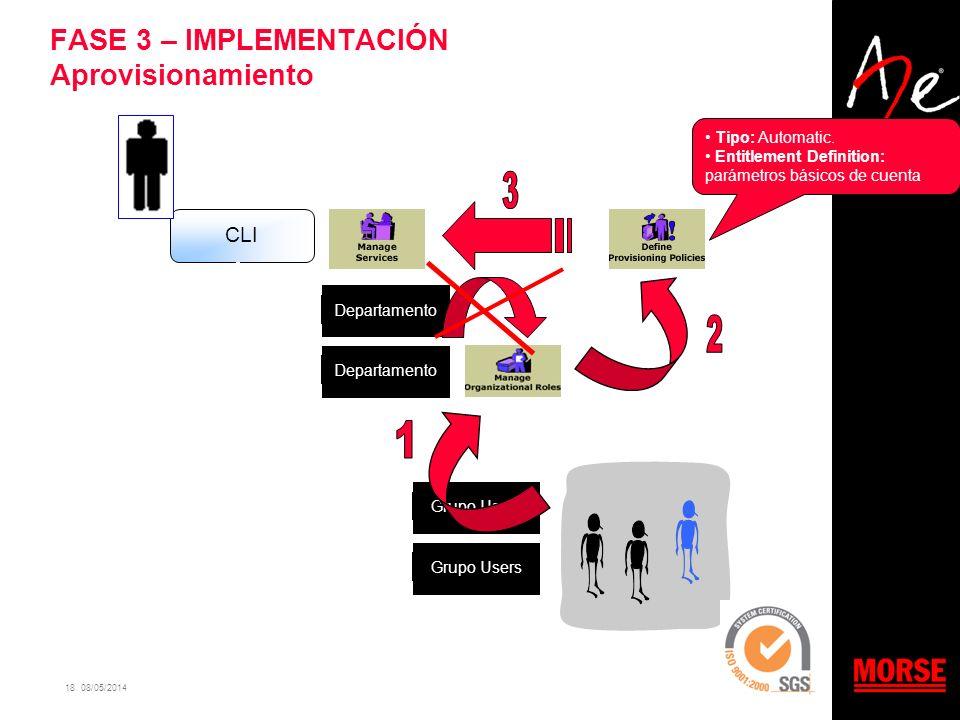 18 08/05/2014 FASE 3 – IMPLEMENTACIÓN Aprovisionamiento CLI Departamento Grupo Users Tipo: Automatic. Entitlement Definition: parámetros básicos de cu