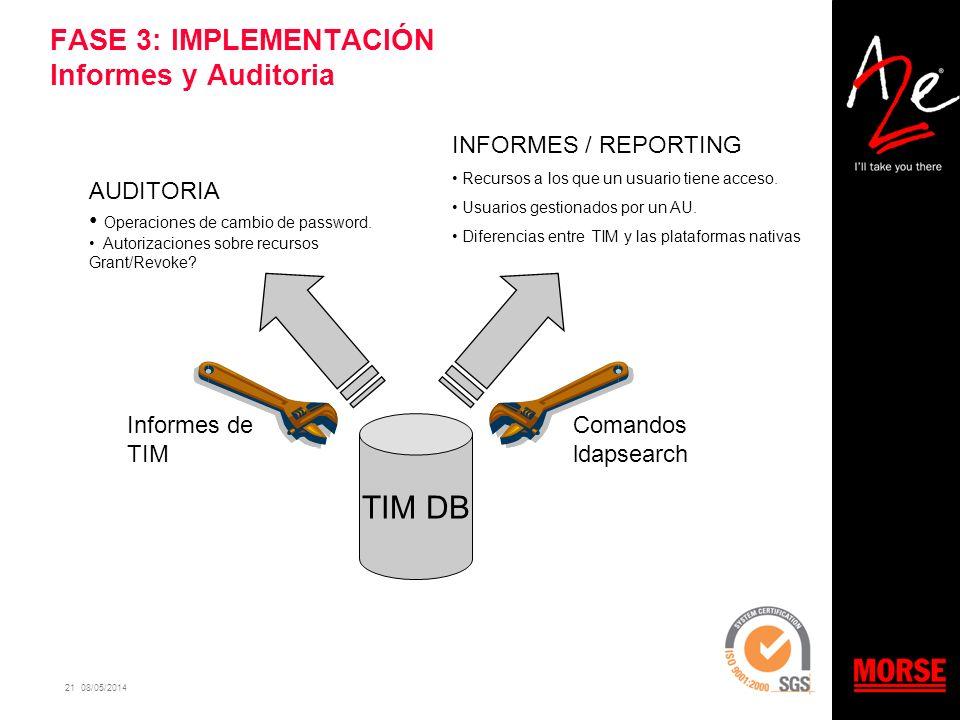 21 08/05/2014 FASE 3: IMPLEMENTACIÓN Informes y Auditoria TIM DB AUDITORIA Operaciones de cambio de password. Autorizaciones sobre recursos Grant/Revo