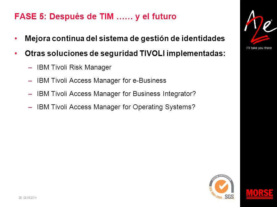 25 08/05/2014 FASE 5: Después de TIM …… y el futuro Mejora continua del sistema de gestión de identidades Otras soluciones de seguridad TIVOLI impleme
