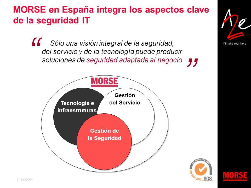 27 08/05/2014 MORSE en España integra los aspectos clave de la seguridad IT Sólo una visión integral de la seguridad, del servicio y de la tecnología