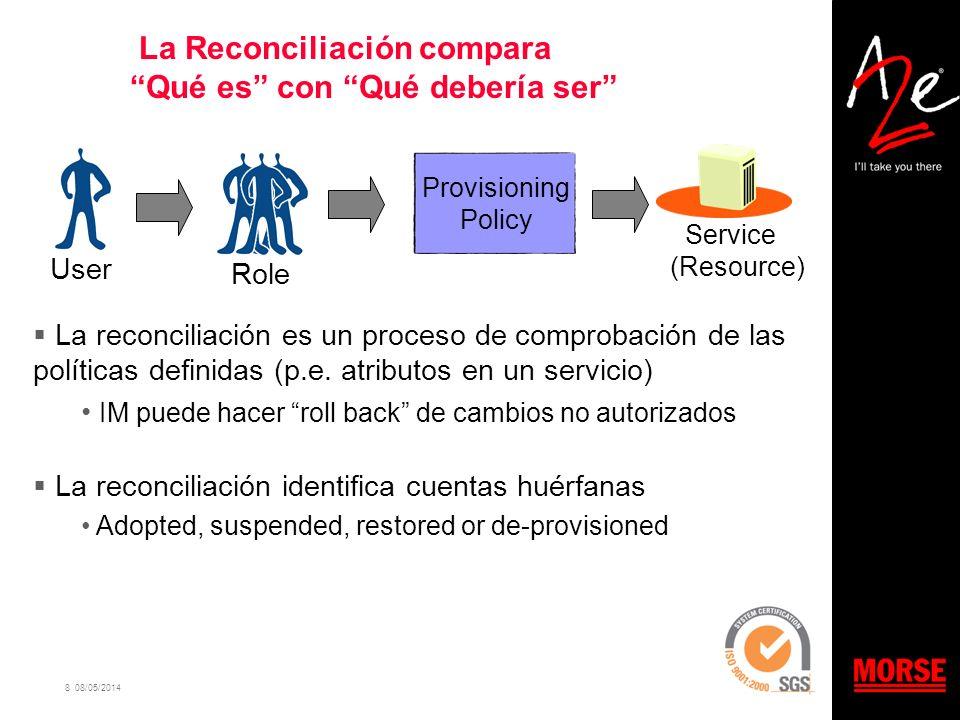 8 08/05/2014 La Reconciliación compara Qué es con Qué debería ser Provisioning Policy Service (Resource) UserRole La reconciliación es un proceso de c