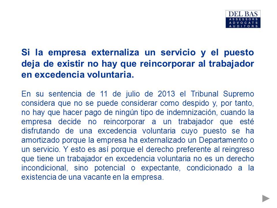 Si la empresa externaliza un servicio y el puesto deja de existir no hay que reincorporar al trabajador en excedencia voluntaria.
