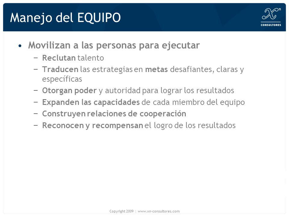 Manejo del EQUIPO Movilizan a las personas para ejecutar – Reclutan talento – Traducen las estrategias en metas desafiantes, claras y específicas – Ot