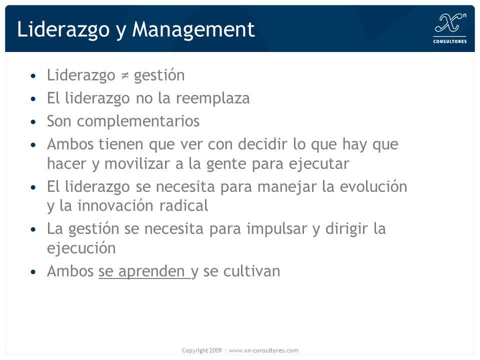 Liderazgo y Management Liderazgo gestión El liderazgo no la reemplaza Son complementarios Ambos tienen que ver con decidir lo que hay que hacer y movi