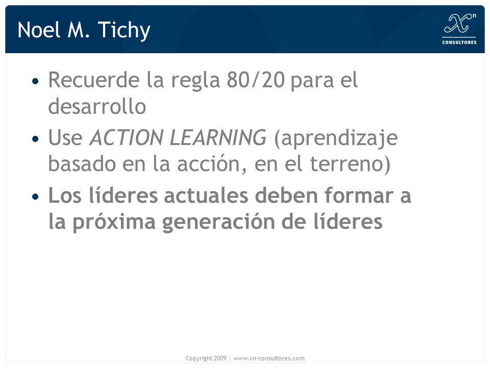 Noel M. Tichy Recuerde la regla 80/20 para el desarrollo Use ACTION LEARNING (aprendizaje basado en la acción, en el terreno) Los líderes actuales deb