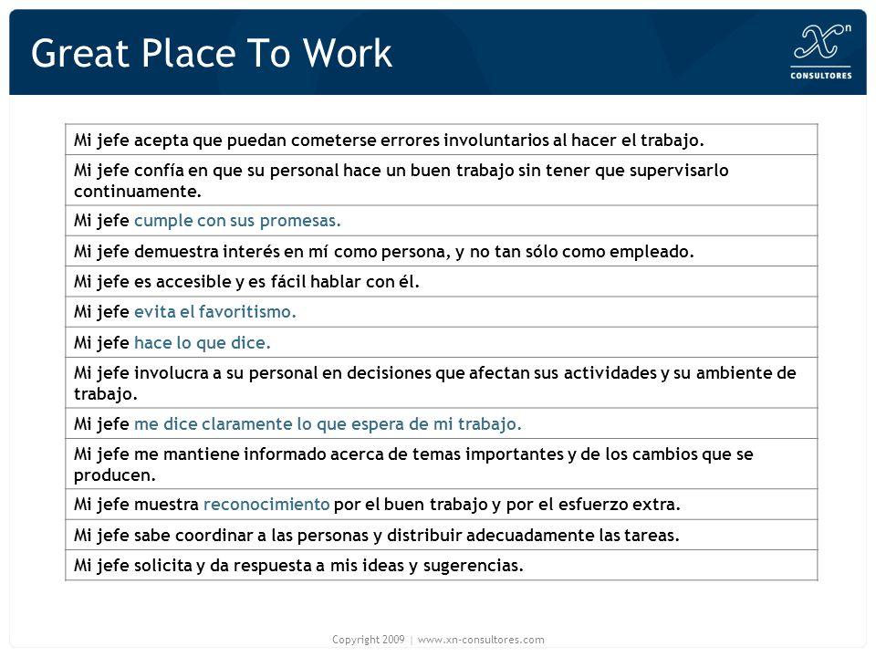 Great Place To Work Mi jefe acepta que puedan cometerse errores involuntarios al hacer el trabajo. Mi jefe confía en que su personal hace un buen trab