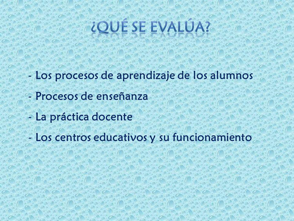 - Los procesos de aprendizaje de los alumnos - Procesos de enseñanza - La práctica docente - Los centros educativos y su funcionamiento