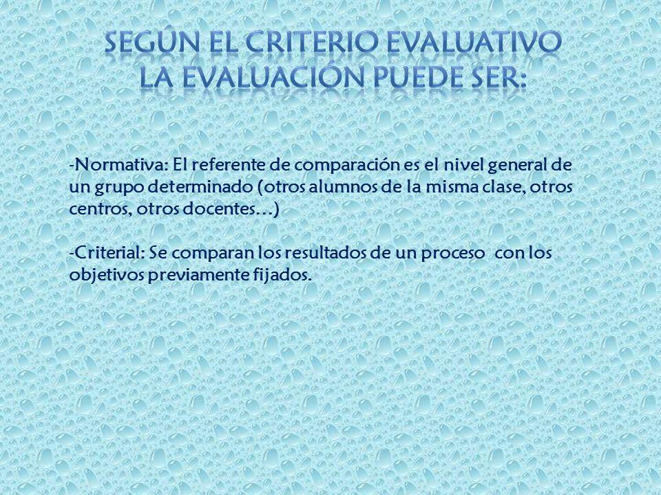 -Normativa: El referente de comparación es el nivel general de un grupo determinado (otros alumnos de la misma clase, otros centros, otros docentes…)