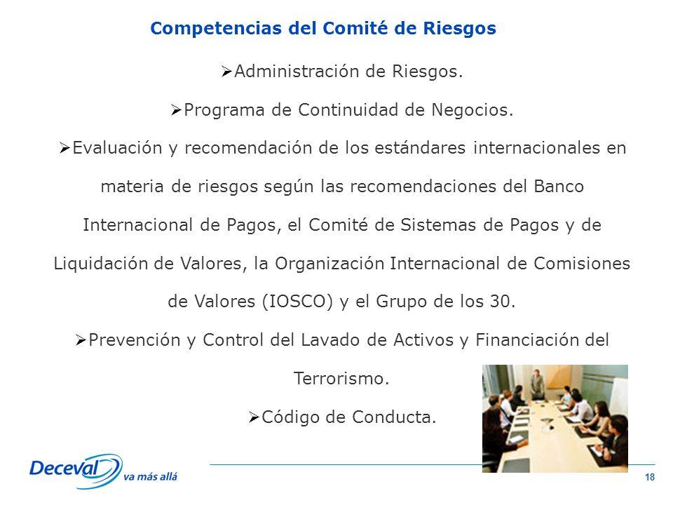 18 Competencias del Comité de Riesgos Administración de Riesgos.