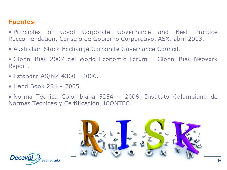 20 Fuentes: Principles of Good Corporate Governance and Best Practice Reccomendation, Consejo de Gobierno Corporativo, ASX, abril 2003.