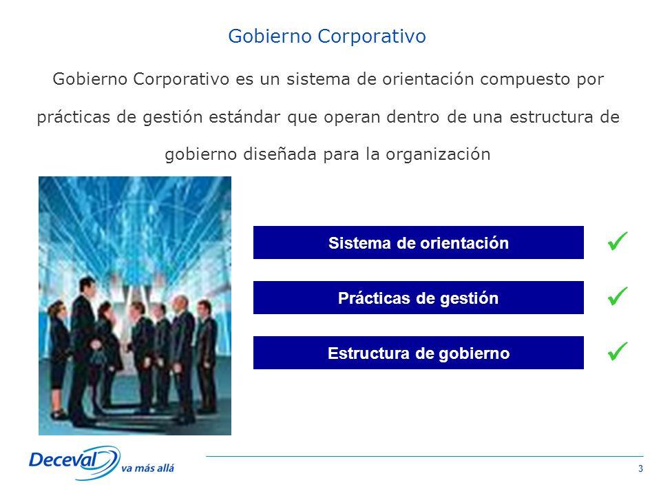 3 Gobierno Corporativo Gobierno Corporativo es un sistema de orientación compuesto por prácticas de gestión estándar que operan dentro de una estructura de gobierno diseñada para la organización Sistema de orientación Prácticas de gestión Estructura de gobierno