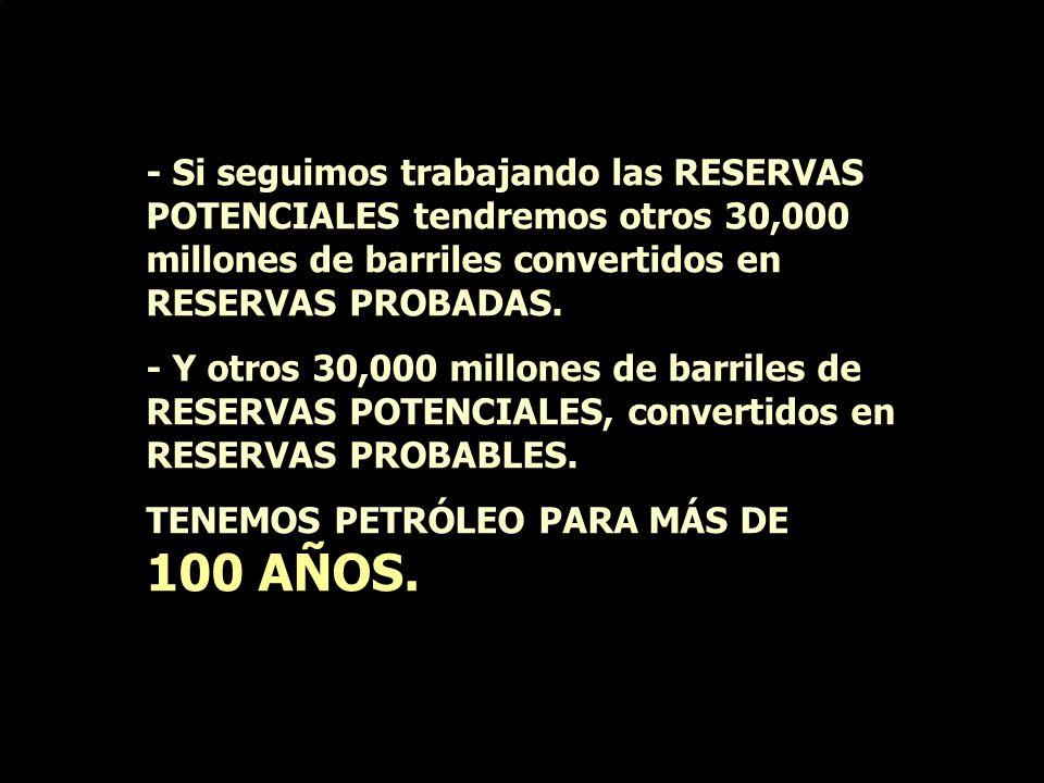 - Hemos extraído 30,771 millones de barriles en 30 años. - En RESERVAS PROBADAS tenemos petróleo PARA 30 AÑOS MÁS (ritmo de explotación 3 millones de