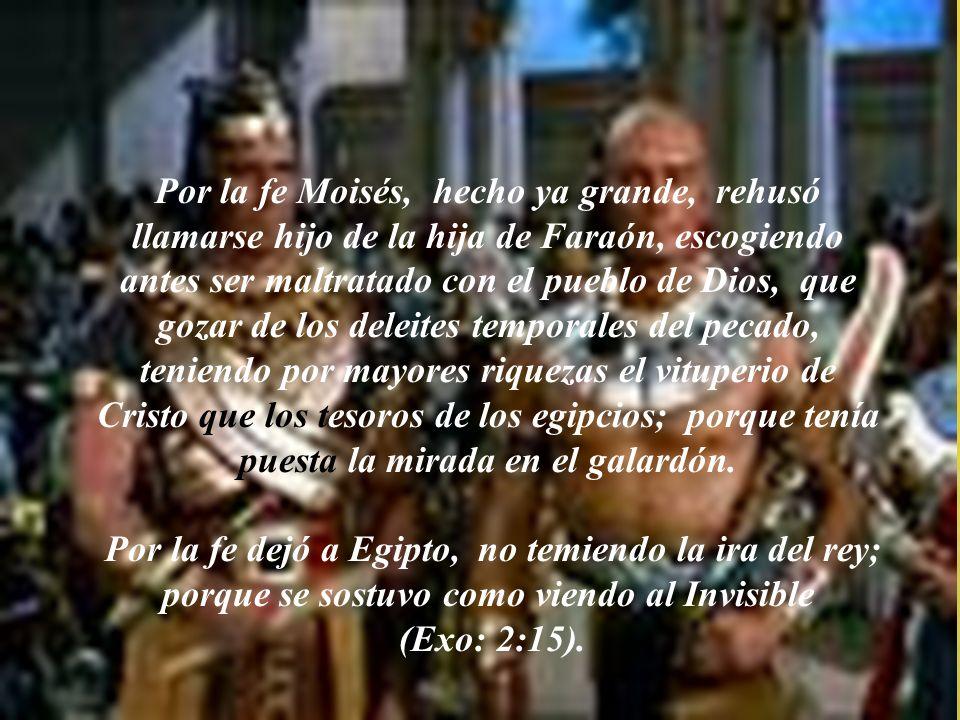 Por la fe Moisés, cuando nació, fue escondido por sus padres por tres meses, porque le vieron niño hermoso, y no temieron el decreto del rey. (Exo: 2: